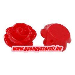 Fűzhető gyanta virág kaboson. 9x7mm. Piros. 10db.