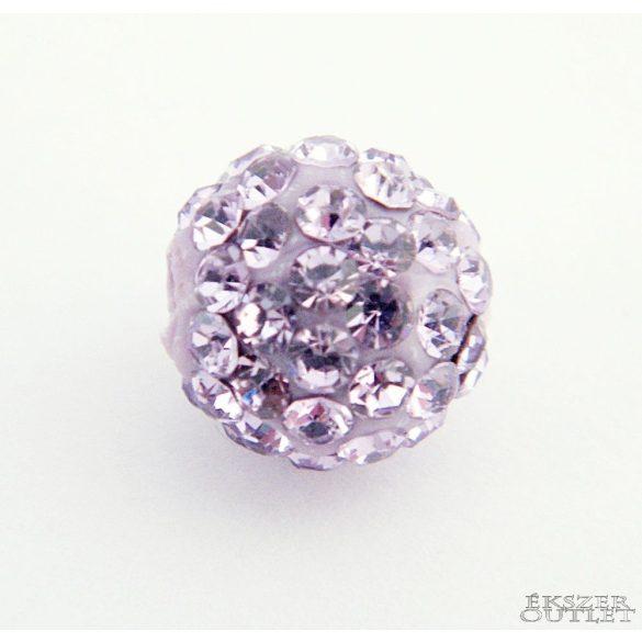 Shamballa gyöngy. 10 mm. Világos ametiszt.  10db.