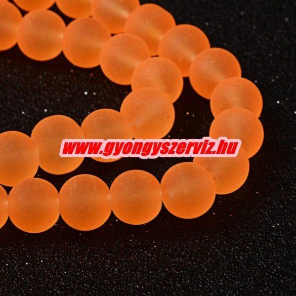 Matt üveggyöngy. 6, 8, 10mm. Neon narancs. 100db.