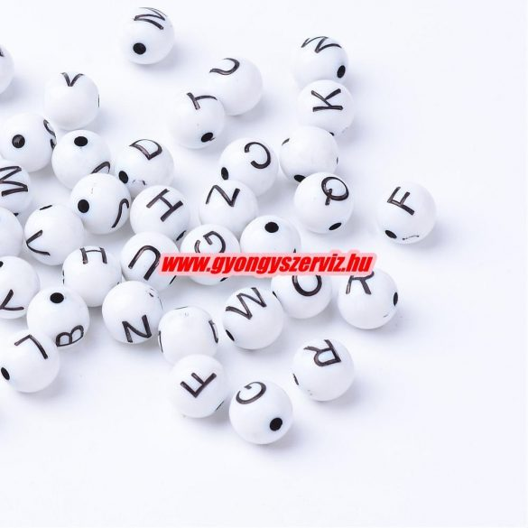 Műanyag betű gyöngy. 7-8 mm. 100db/csomag. Mix.