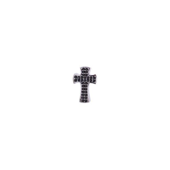 Cirkónia kristályos köztes gyöngy. Kereszt. Platina szín, fekete kristály.