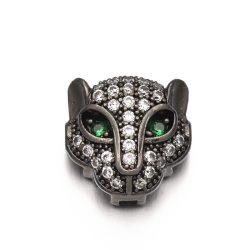 Cirkon leopárd fej gyöngy. Fekete szín, zöld szem.