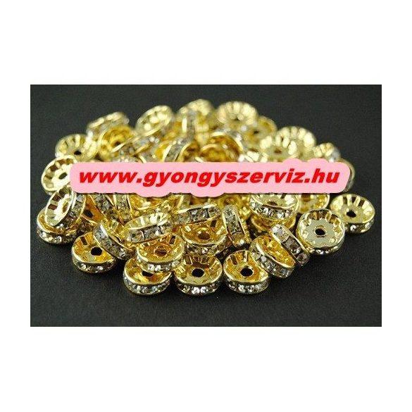 Strasszos fém köztes gyöngy. Rondell. 10x3.5mm. Arany szín.  20db/csomag.