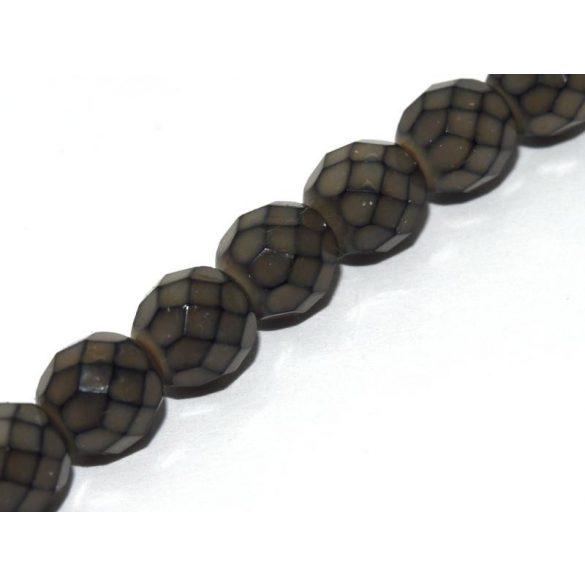 Cseh csiszolt gyöngy. 8mm. Fekete, opál. 20db/csomag.