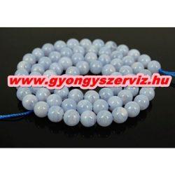 Kék kalcedon ásványgyöngy. 4-5mm. 1 szál (40cm).