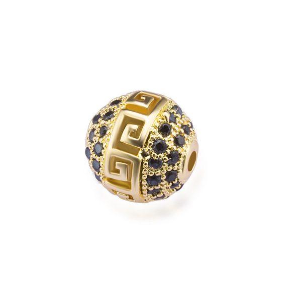 Cirkon köztes gyöngy. 10mm. Görög. Arany szín, fekete kristály.
