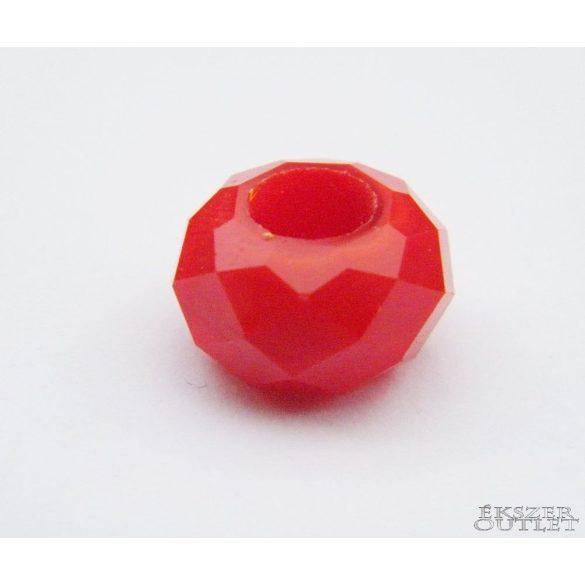 Pandora üveg gyöngy. 14x8mm. Piros.  10db.