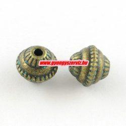 Hordó. 8x7mm. Antik bronz, patinás szín. Köztes gyöngy, fém gyöngy. 10db.
