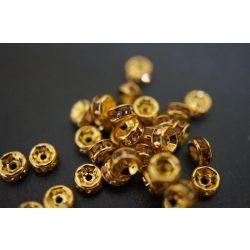 Rondell. Strasszos köztes gyöngy, rondella. 6mm. Arany-pezsgő.  20db/csomag.