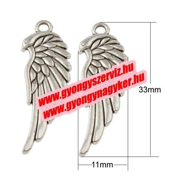 Angyalszárny medál, fityegő. Antik ezüst szín. 11x33mm. 10db.