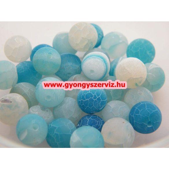 Ásványgyöngy, féldrágakő gyöngy. Repesztett. Kék achát. 10mm.  1 szál.