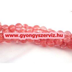 Cseresznyekvarc ásványgyöngy.  10mm. 1 szál, kb. 40cm.
