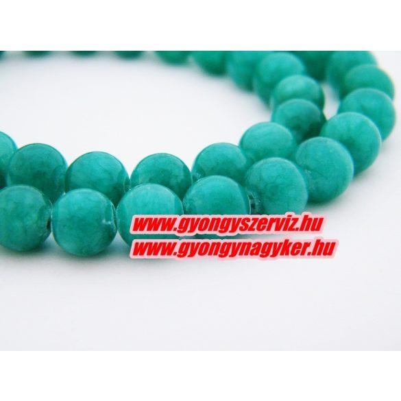 Jade ásványgyöngy. 8mm.  Zöld.  1 szál, kb. 40cm.