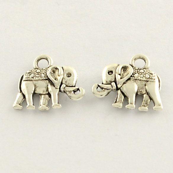 Fém medál, fityegő. Elefánt. 11.5x14x3mm. 10db.