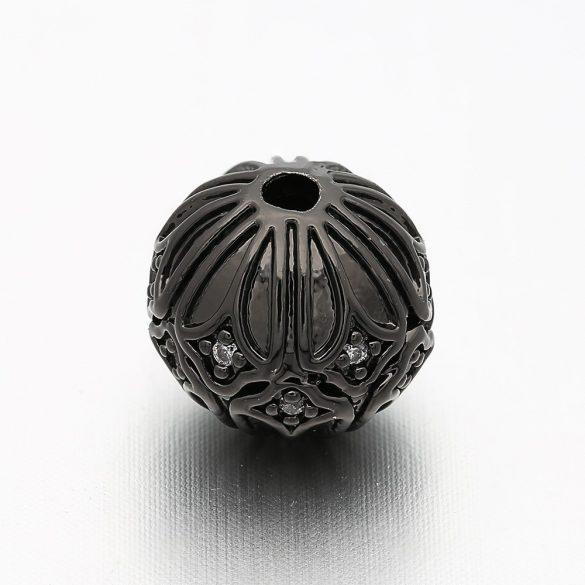 Cirkon kristályos köztes gyöngy. 9.5x10mm. Fekete szín, fehér kristály.