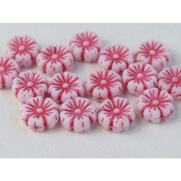 Cseh üveggyöngy. Virág. Pink. 10db/csomag. 9mm.