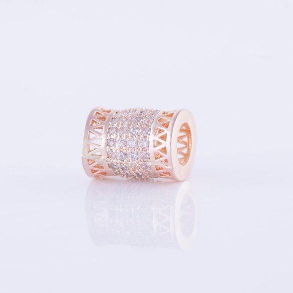 Cirkon kristályos köztes gyöngy. Cső. 8x11mm. Rózsaarany szín.