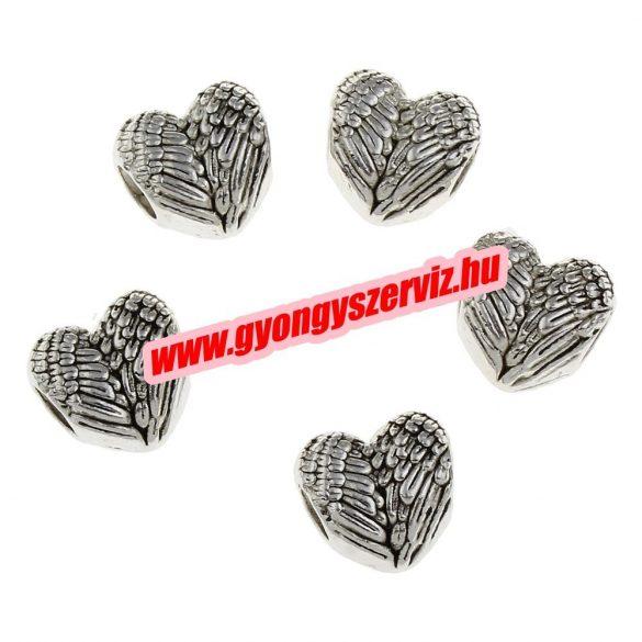 Pandora stílusú köztes gyöngy, charm. Szív. 11x12x7.5mm. Antik ezüst szín.  10db.