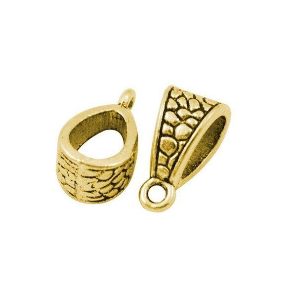 Charm tartó, medál tartó, köztes fémgyöngy. Antik arany szín. 14.5x7.5x8.5mm.  10db.