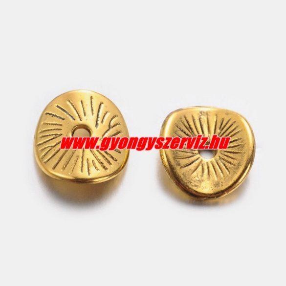 Hajlított köztes fémgyöngy. 9.5x8.5mm. Antik arany szín. 10db.