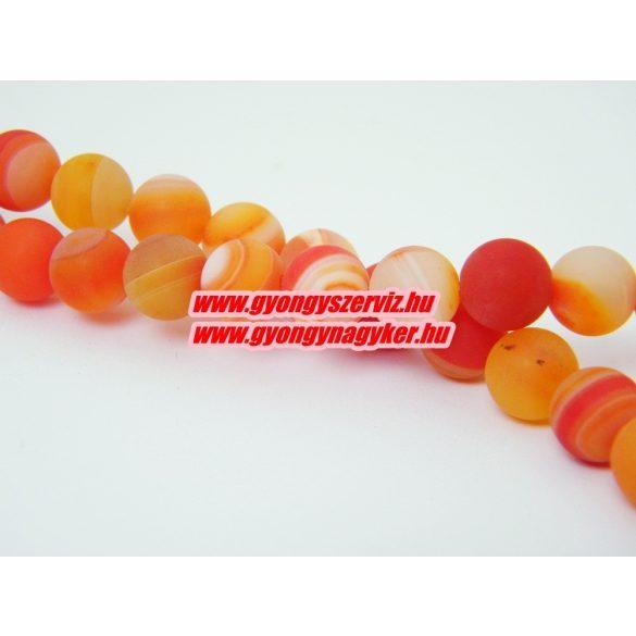 Matt narancs sávos achát ásványgyöngy. 10mm.  1 szál.
