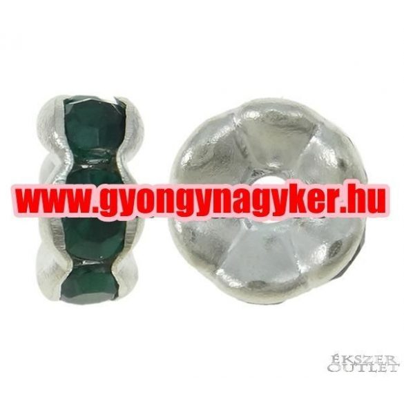 Fémgyöngy. Köztes gyöngy. Rondell. Smaragd. 7x3mm.  20db/csomag.