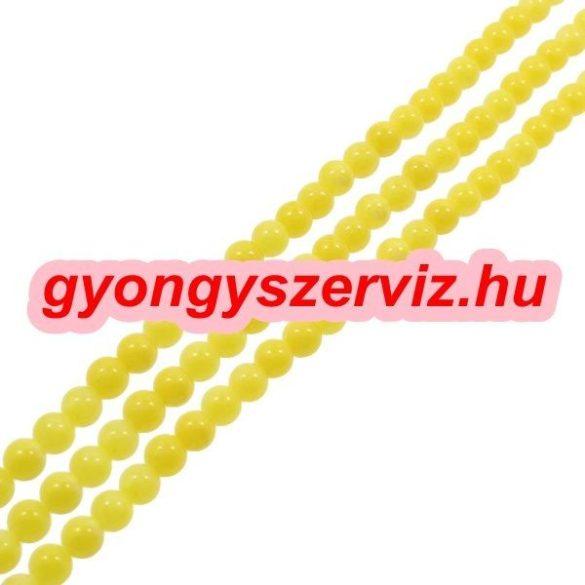 Jade ásványgyöngy. 8mm. Világos sárga. 1 szál. (kb. 40cm)