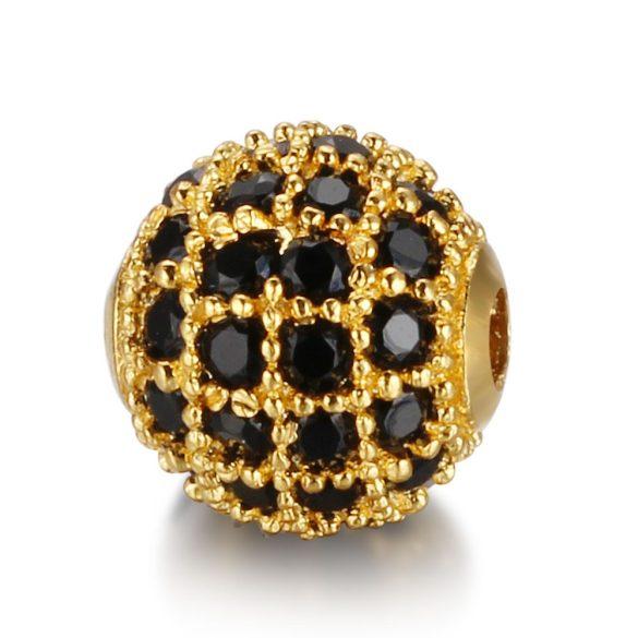 Cirkon köztes gyöngy. 8mm. Arany szín, fekete kristály.
