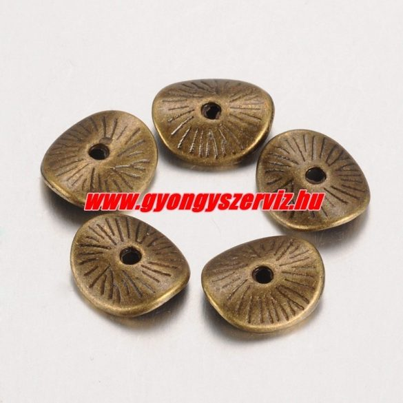 Hajlított köztes fémgyöngy. 9.5x8.5mm. Antik bronz szín. 10db.
