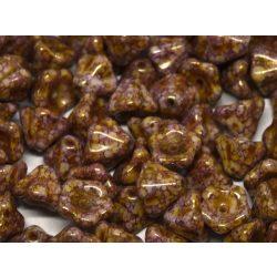 Cseh üveggyöngy. Harangvirág. Lila,arany.  10db/csomag.