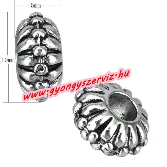 Diszkosz. Fém köztes gyöngy. 5x10mm. Antik ezüst szín. 10db.