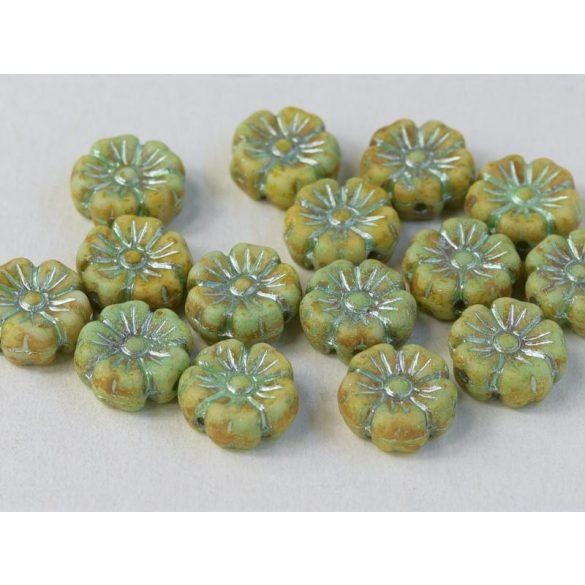 Cseh üveggyöngy. Virág. Zöldes.  10db/csomag. 9mm.