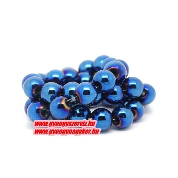 Hematit ásványgyöngy. 6mm. Kék. 1 szál.