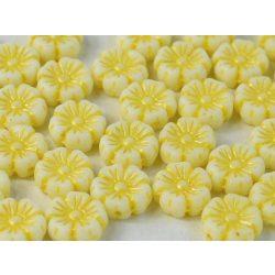 Cseh üveggyöngy. Virág. Fehér, sárga. 10db/csomag. 9mm.