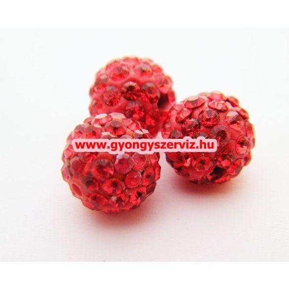 Shamballa gyöngy. 10 mm. Piros.  10db.
