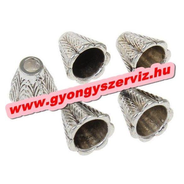 Gyöngykupak, fémgyöngy. Antik ezüst szín. 11.5x11mm. 10db.