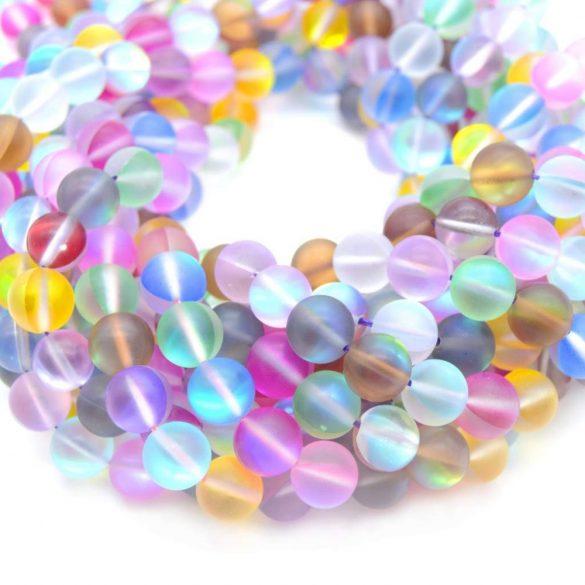 Szintetikus , matt aurakvarc gyöngy. Hologrammos gyöngy. 12 szín, két méret.