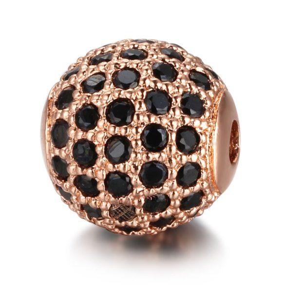 Cirkon köztes gyöngy. 8mm. Rózsaarany szín, fekete kristály.