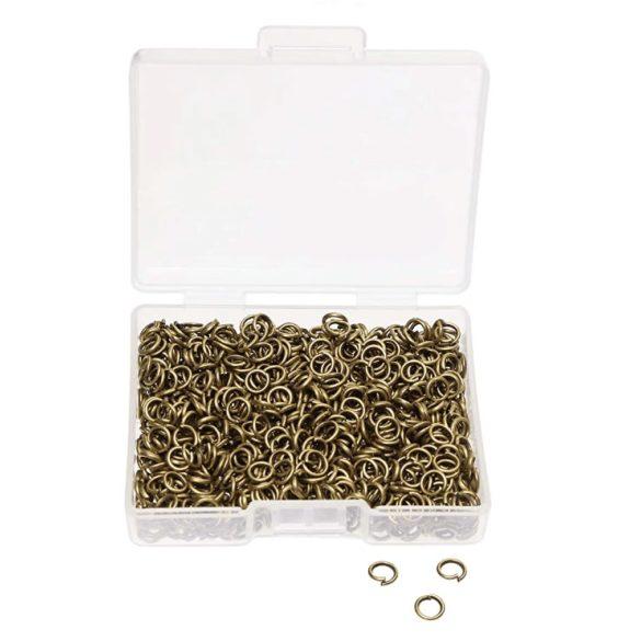 Nyitott szerelőkarika. 7x0.7mm. Antik bronz szín. 500db + ajándék doboz.
