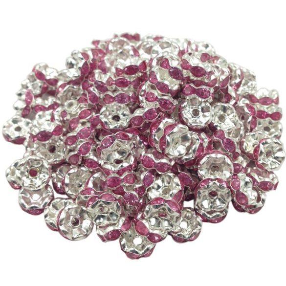 Strasszos fém köztes gyöngy. Rondell. Pink. 8x3.5mm. AAA.  20db/csomag.