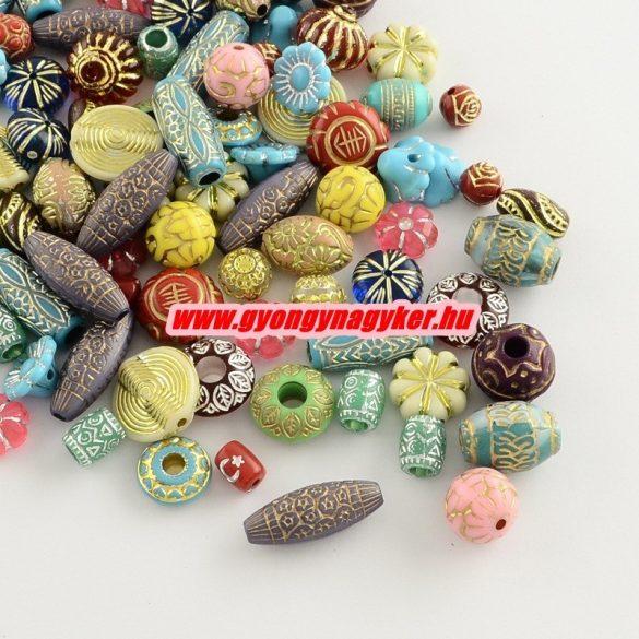 50 gramm. Akril gyöngy. Fém hatású, színes. Mix.