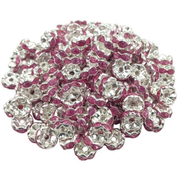 Strasszos fém köztes gyöngy. Rózsaszín. Rondell.  8x3.5mm.   20db/csomag.
