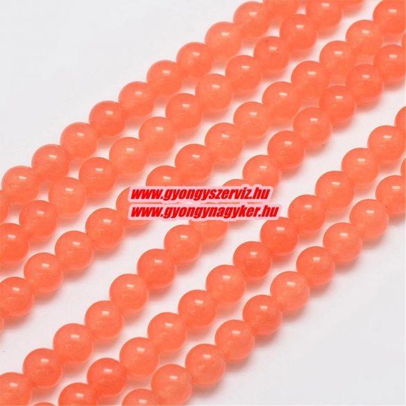 Jade ásványgyöngy. 8mm. Narancs. 1 szál. (kb. 40cm)