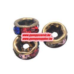 Rondell. Strasszos köztes gyöngy, rondella. 6mm. Antik bronz, szívárvány. AAA.  20db/csomag.